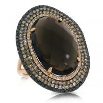 1.32ct White, Champagne & Black Diamond & 12.05ct Smokey Topaz 14k Rose Gold Ring