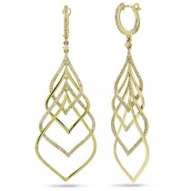 1.31ct 14k Yellow Gold Diamond Earrings
