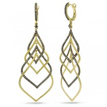 1.31ct 14k Yellow Gold Champagne Diamond Earrings
