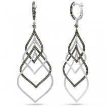 1.31ct 14k White Gold Champagne Diamond Earrings