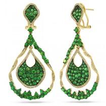 1.00ct Diamond & 6.51ct Green Garnet 14k Yellow Gold Earrings