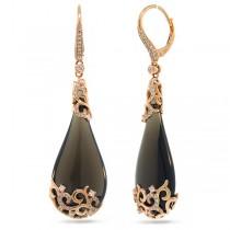 0.67ct Diamond & 44.89ct Smokey Topaz 14k Rose Gold Earrings