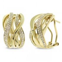 0.84ct 14k Yellow Gold Diamond Earrings
