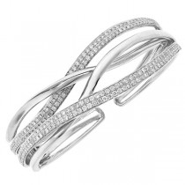 2.78ct 14k White Gold Diamond Bangle
