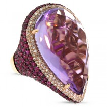 0.62ct Diamond & 31.27ct Amethyst & Pink Sapphire 14k Rose Gold Ring