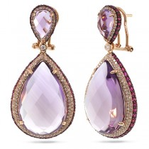 1.15ct Diamond & 41.99ct Amethyst & Pink Sapphire 14k Rose Gold Earrings