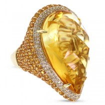 0.62ct Diamond & 31.74ct Citrine & Yellow Sapphire 14k Yellow Gold Ring