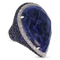 0.62ct Diamond & 29.65ct Sodalite & Blue Sapphire 14k White Gold Ring