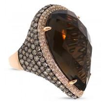 4.18ct White & Champagne Diamond & 27.13ct Smokey Topaz 18k Rose Gold Ring