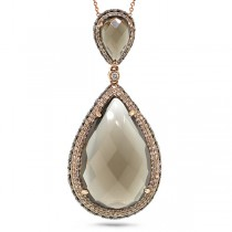 2.02ct White & Champagne Diamond & 28.45ct Smokey Topaz 18k Rose Gold Pendant Necklace