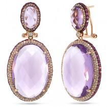 1.15ct Diamond & 43.45ct Amethyst & Pink Sapphire 14k Rose Gold Earrings