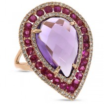 0.60ct Diamond & 8.63ct Amethyst & Pink Sapphire 14k Rose Gold Ring
