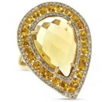 0.60ct Diamond & 9.17ct Citrine & Yellow Sapphire 14k Yellow Gold Ring