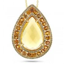 0.49ct Diamond & 12.55ct Citrine & Yellow Sapphire 14k Yellow Gold Pendant Necklace