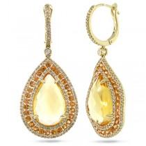 0.99ct Diamond & 13.07ct Citrine & Yellow Sapphire 14k Yellow Gold Earrings