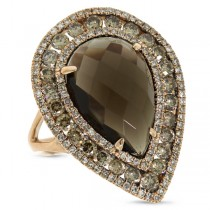 2.07ct White & Champagne Diamond & 7.80ct Smokey Topaz 14k Rose Gold Ring