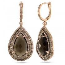 2.65ct White & Champagne Diamond & 13.41ct Smokey Topaz 14k Rose Gold Earrings