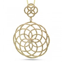 1.92ct 14k Yellow Gold Diamond Lace Pendant Necklace