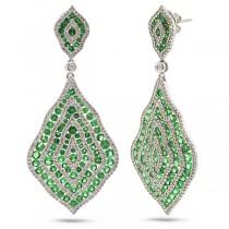 1.87ct Diamond & 6.29ct Green Garnet 14k White Gold Earrings