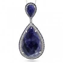 0.73ct Diamond & 26.35ct Sodalite & Bluesapphire 14k White Gold Pendant Necklace