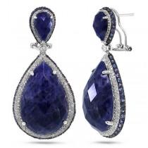 1.15ct Diamond & 37.56ct Sodalite & Blue Sapphire 14k White Gold Earrings