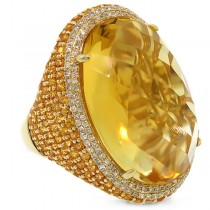 0.59ct Diamond & 32.71ct Citrine & Yellow Sapphire 14k Yellow Gold Ring