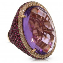 0.59ct Diamond & 29.34ct Amethyst & Pink Sapphire 14k Rose Gold Ring Size 9.5