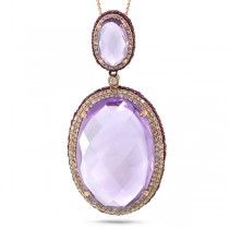0.76ct Diamond & 30.55ct Amethyst & Pink Sapphire 14k Rose Gold Pendant Necklace