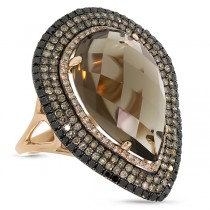 1.32ct White, Champagne & Black Diamond & 11.70ct Smokey Topaz 14k Rose Gold Ring