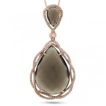 0.51ct Diamond & 15.06ct Smokey Topaz 14k Rose Gold Pendant Necklace
