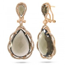 0.93ct Diamond & 25.38ct Smokey Topaz 14k Rose Gold Earrings