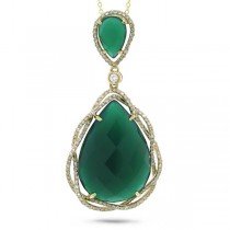 0.51ct Diamond & 14.53ct Green Agate 14k Yellow Gold Pendant Necklace