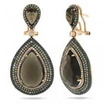2.17ct White, Champagne & Black Diamond & 21.18ct Smokey Topaz 14k Rose Gold Earrings