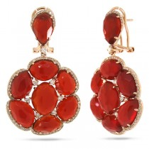 0.84ct Diamond & 28.48ct Red Agate 14k Rose Gold Earrings