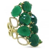 0.29ct Diamond & 13.33ct Green Agate & Green Garnet 14k Yellow Gold Ring
