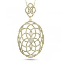 1.46ct 14k Yellow Gold Diamond Lace Pendant Necklace
