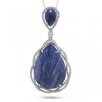 0.51ct Diamond & 16.52ct Blue Aventurine 14k White Gold Pendant Necklace