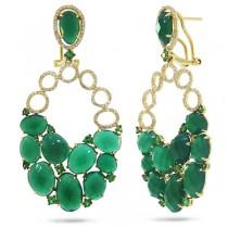 0.74ct Diamond & 25.00ct Green Agate & Green Garnet 14k Yellow Gold Earrings