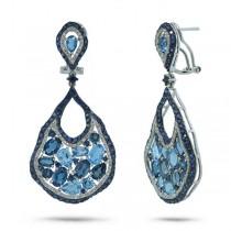 0.79ct Diamond & 14.24ct Blue Sapphire & Blue Topaz & London Blue Topaz 14k White Gold Earrings