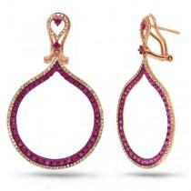 0.65ct Diamond & 1.71ct Pink Sapphire 14k Rose Gold Earrings