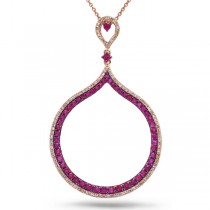 0.35ct Diamond & 1.17ct Ruby 14k Rose Gold Pendant Necklace