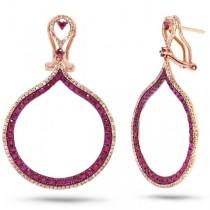 0.65ct Diamond & 2.06ct Ruby 14k Rose Gold Earrings