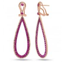0.66ct Diamond & 1.75ct Pink Sapphire 14k Rose Gold Earrings
