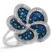 0.75ct Diamond & 1.64ct Blue Sapphire 14k White Gold Flower Ring