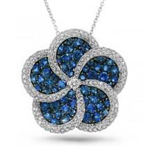 0.94ct Diamond & 2.57ct Blue Sapphire 14k White Gold Flower Pendant Necklace
