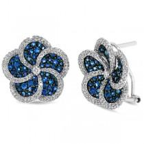 1.04ct Diamond & 2.33ct Blue Sapphire 14k White Gold Flower Earrings