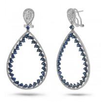 1.46ct Diamond & 3.03ct Blue Sapphire 14k White Gold Earrings