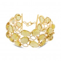 1.48ct Diamond & 123.08ct Citrine & Yellow Sapphire 14k Yellow Gold Bracelet