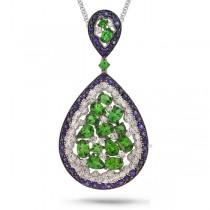 0.60ct Diamond & 10.10ct White & Blue Sapphire & Green Garnet 14k White Gold Pendant Necklace