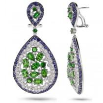 0.67ct Diamond & 18.23ct White & Blue Sapphire & Green Garnet 14k White Gold Earrings